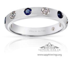 0.63 tcw Custom Platinum Sapphire & Diamond Band