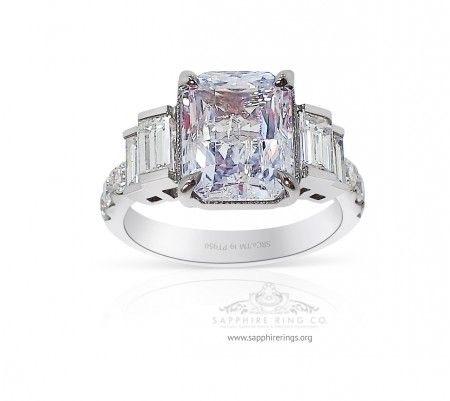 4.12 ct Untreated White Sapphire Platinum Ring