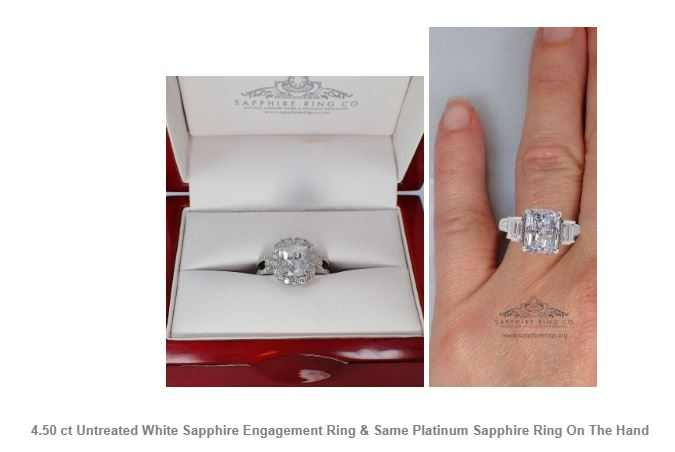 4.50 ct Untreated White Sapphire Engagement Ring & Same Platinum Sapphire Ring On The Hand