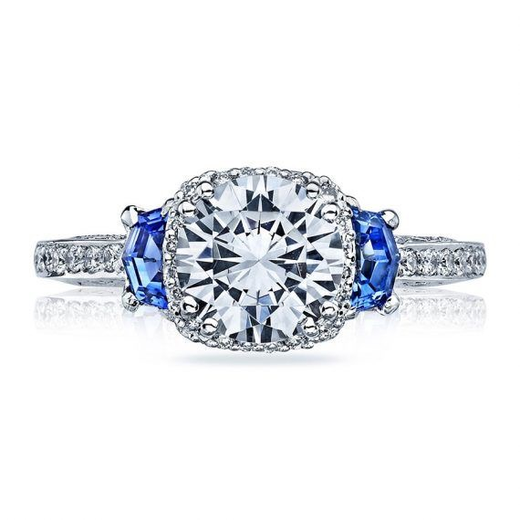 3.03 ct Cushion Cut Platinum Sapphire Ring With Two Blue Sapphire Set Each Side