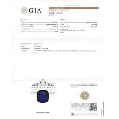 GIA Origin report Natural 10 ct Ceylon Sapphire