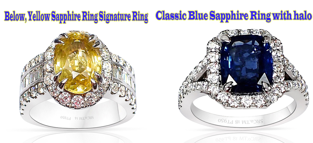 Yellow-and-blue-sapphire-platinum-rings