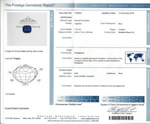 GIA sapphire report with origin along with an AGL report