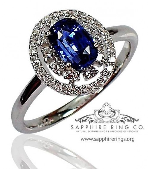 Untreated 18KT 1.04 ct Blue Cushion Cut Natural Ceylon Sapphire & Diamond Ring $7150.10 - 2701