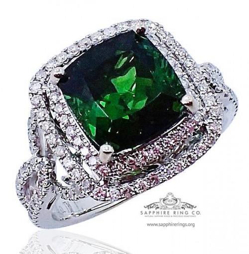 GIA 18kt 3.61 ct Green Cushion Cut Natural Tourmaline & Diamond Ring - 502 D