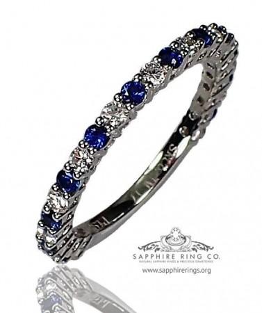 0.69 tcw Sapphire & Diamond Wedding Band, Platinum Blue Natural Sapphire Band - 3150
