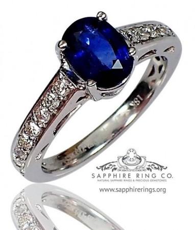 1.55 ct Untreated 18 kt  Blue Oval Cut Natural Ceylon Sapphire & Diamond Ring- 2703