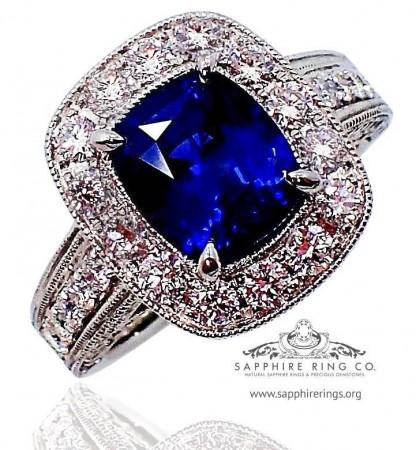 3.38 ct Platinum Sapphire Ring, GIA Royal Blue Ceylon Natural Sapphire - 3111