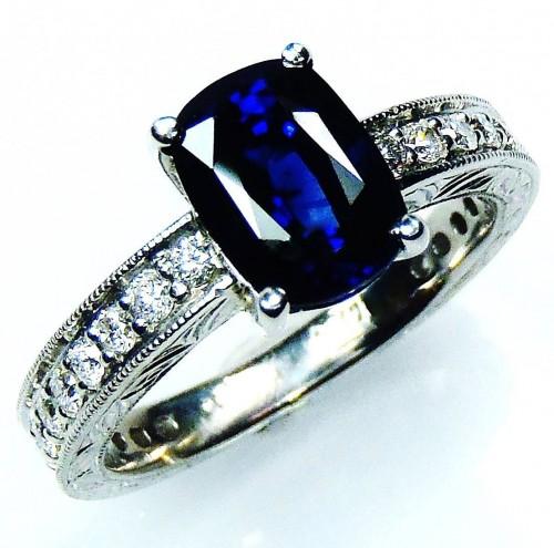 Ceylon sapphire ring, GIA Certified 2.17 ct 14 kt Cushion Cut Blue Natural Sapphire & Diamond Ring - GIA G. G Appraisal $9,135.11