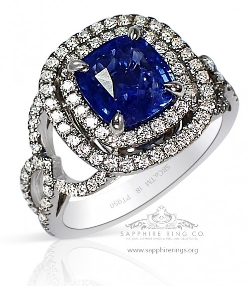 2.17 ct Untreated Platinum Blue Sapphire Ring GIA