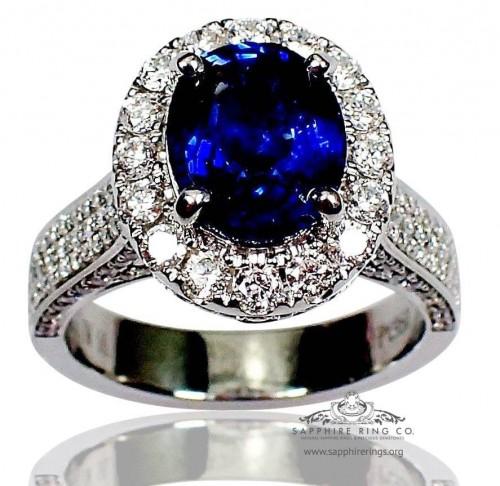Platinum Sapphire Ring, GIA 2.58 ct Blue Oval Cut Natural Ceylon Sapphire - $14,795.23