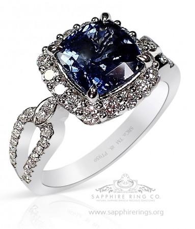 2.58 ct Untreated Blue Sapphire & Custom Platinum Ring, GIA - 3219b