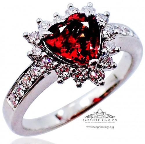 1.12 ct Untreated Sapphire & Platinum Ring, Reddish Orange Heart Cut natural Sapphire GIA - 3099D