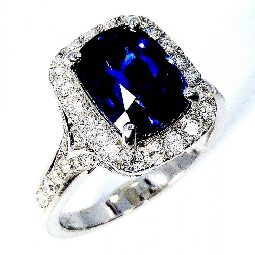 Untreated Blue Sapphire Ring, GIA Certified 3.06 ct Cushion Cut Ceylon Sapphire & Platinum Ring - GIA G. G appraisal $15,997.95.
