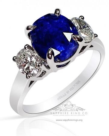 3.77 ct Untreated 3 Stone Platinum Blue Ceylon Sapphire Ring, GIA - 3214