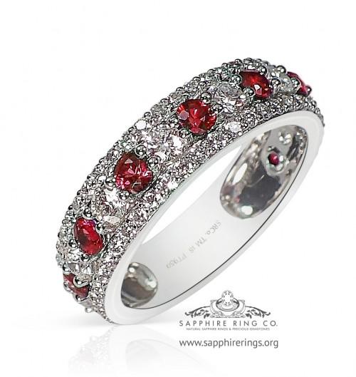 1.60 tcw Custom Ruby Platinum Sapphire Wedding Band - 3201R