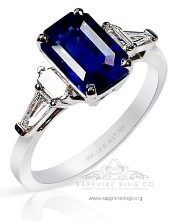 Untreated Platinum Sapphire Ring - Blue Emerald 2.16 ct GIA