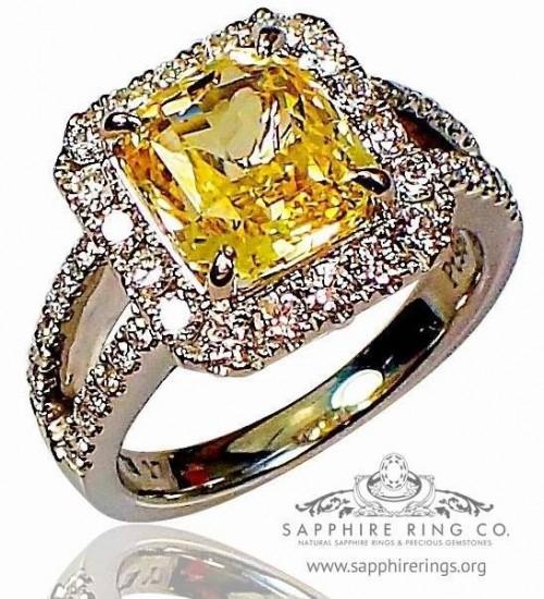 4.10 ct Untreated Platinum Yellow Sapphire Engagement Ring, 4.10 ct GIA Asscher Ceylon Sapphire - 3151