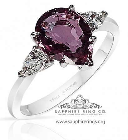 1.92 ct 3 Stone Pink Ceylon Sapphire Platinum Ring, GIA - 3211