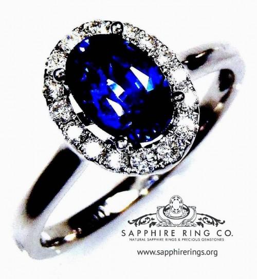 Untreated Sapphire & Diamond Ring, 14kt 1.33 ct Blue Oval Cut Ceylon Sapphire Setting  -  2868