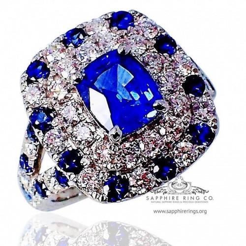 Platinum Sapphire Diamond Ring, 1.69 ct Cushion Cut Ceylon Sapphire GIA - 3079