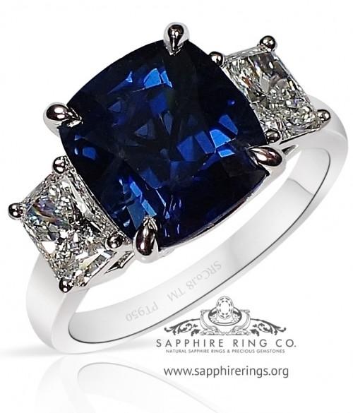 4.52 ct 3 Stone Platinum Ceylon Blue Sapphire Ring, GIA D VVS - 3210
