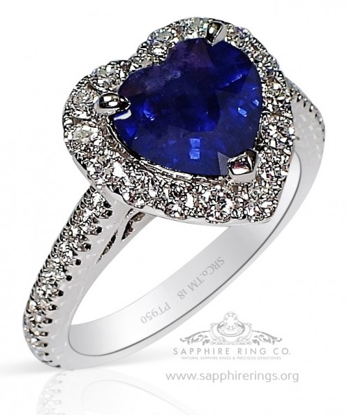 2.46 ct Untreated Heart Cut Ceylon Blue Sapphire Platinum Ring, GIA - 3220