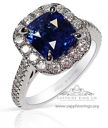 3.13 ct Untreated Platinum Blue Sapphire Ring, GIA - 3219
