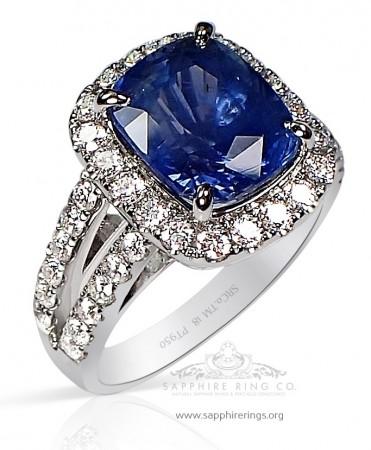 Untreated Sapphire Platinum Ring - 5.62 ct Blue Cushion GIA