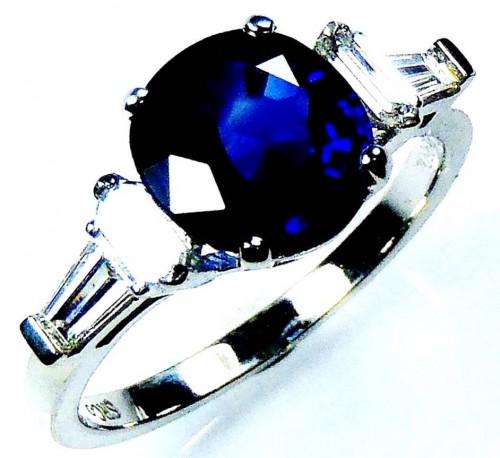 Platinum 2.35 ct Royal Blue Round Cut Natural Ceylon Sapphire & Diamond Ring - GIA G. G Appraisal $12,325.01