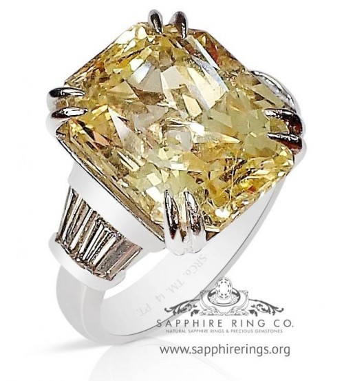13.36 ct Untreated GIA Platinum Yellow Cushion Cut Ceylon Sapphire & Diamond Ring - 2773