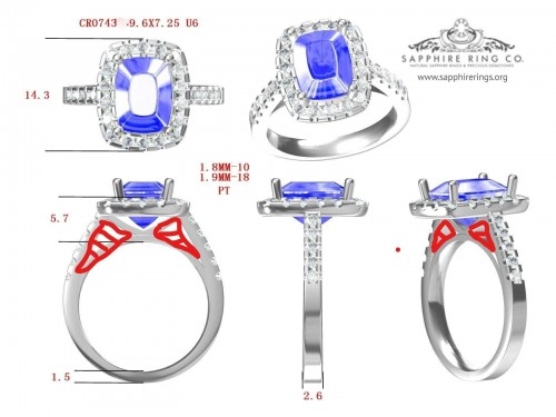 1.79 ct Custom Sapphire Ring in 18kt White Gold, 1.79 ct Cushion Cut Untreated Ceylon sapphire - 2934-3140