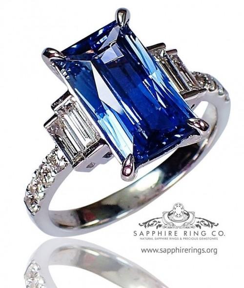 Untreated Blue Sapphire Ring, GIA 18kt 2.96 ct Emerald Cut Natural Ceylon Sapphire $7,800.07 - 3164.