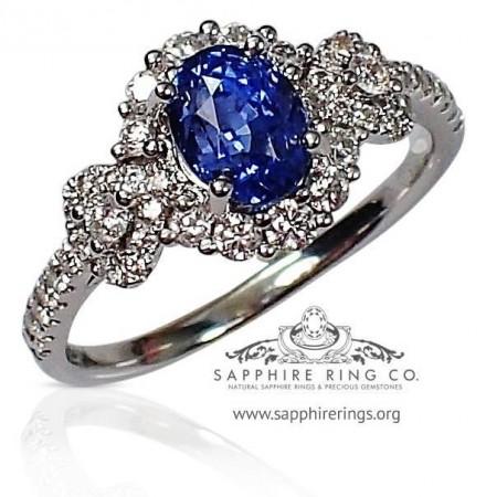 Blue sapphire ring,18kt 1.58 ct oval cut blue natural Ceylon sapphire - 2871
