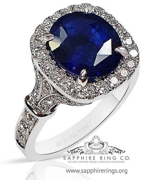 4.10 ct Platinum Sapphire & Diamond Ring, GIA Natural Ceylon Sapphire - 3191