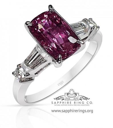 2.50 ct Untreated Pink Ceylon Sapphire Ring, GIA 18kt - 3205