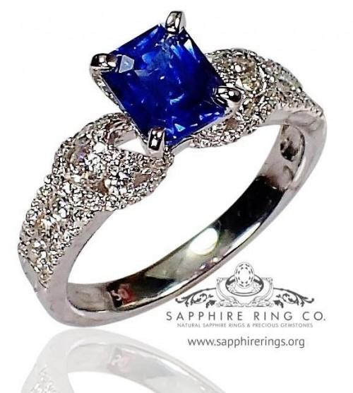 Blue Sapphire & Diamond ring, GIA 18kt 1.43 ct Emerald Cut Ceylon Sapphire $9849.25 - 3023
