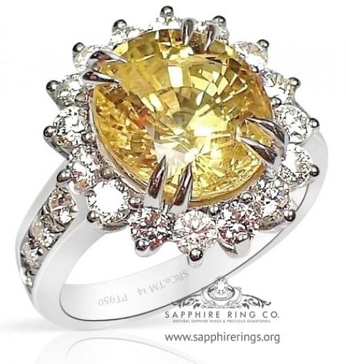 Untreated GIA Platinum 7.06 ct Yellow Oval Cut Natural Ceylon Sapphire & Diamond Ring - 2770