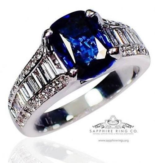3.12 ct Untreated Blue Sapphire & Diamond Ring, GIA 18kt Cushion Cut Ceylon Sapphire - 3132