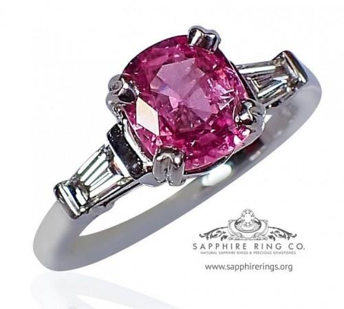 Natural pink sapphire ring, GIA Untreated 1.72 ct Cushion Ceylon Sapphire & Diamond Ring - 2711