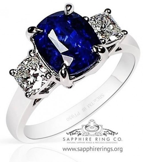 3 Stone 3.57 ct Platinum Ceylon Sapphire Ring, GIA - 3202