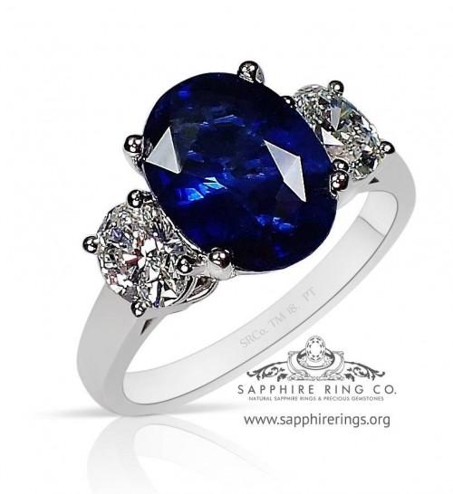 4.12 ct Vivid Blue Platinum Ceylon Sapphire Ring,  GIA  - 3189