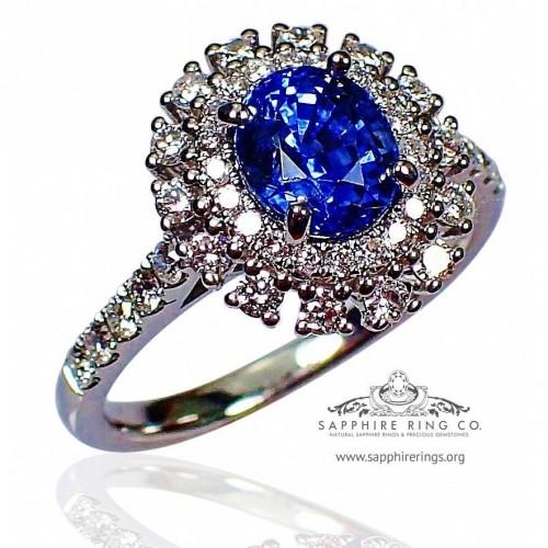 1.50 ct Platinum Sapphire Ring, Oval Cut Blue Ceylon natural sapphire GIA - 3108