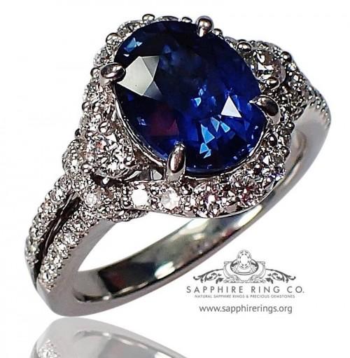 2.42 ct Untreated Sapphire & Diamond Ring, GIA Platinum Oval Cut Ceylon Natural Sapphire - 3153