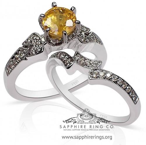 1.05 ct Untreated Yellow Round Cut Ceylon Sapphire & Diamond Ring Set - 2554