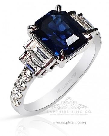 Untreated Sapphire platinum Ring - Blue Asscher 2.67 ct - GIA