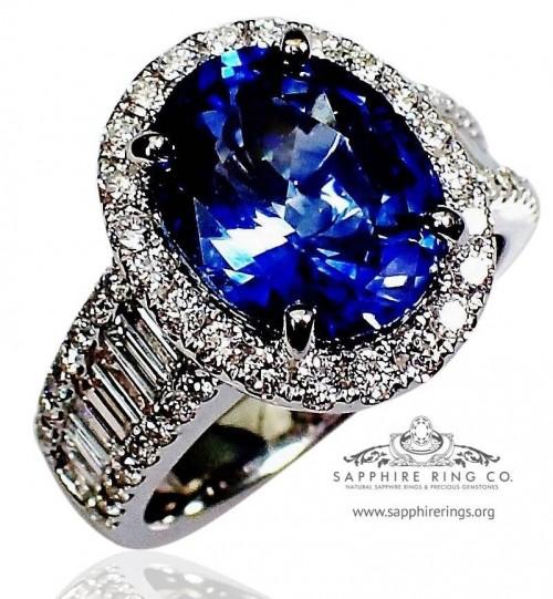 Blue Sapphire & Diamond Ring, 18kt GIA 4.53 ct Oval Cut Ceylon Natural Sapphire - 3103