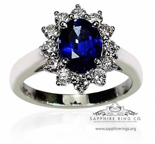 Platinum Sapphire & Diamond Ring, GIA 1.46 ct Oval Cut Natural Vivid Blue Ceylon Sapphire -  3076
