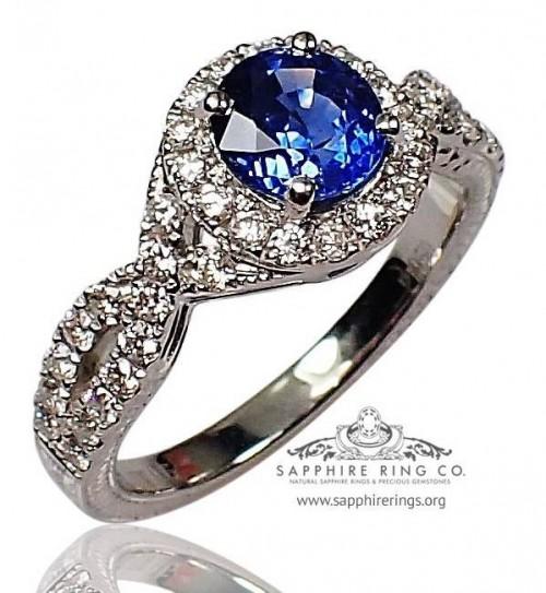 Platinum Sapphire Diamond Ring, 1.32 ct Round Cut Ceylon Sapphire -  $5,499.87