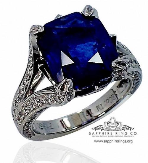 Platinum Sapphire Engagement Ring, GIA 6.89 ct Princess Cut Ceylon Natural Sapphire - $34,499.29